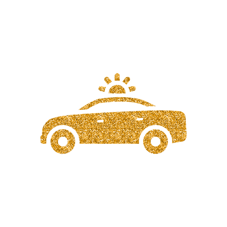 Safety car icon in gold glitter texture. Sparkle luxury style vector illustration.