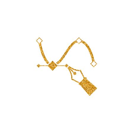 Bezier icon in gold glitter texture. Sparkle luxury style vector illustration.