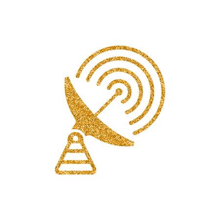 Satellite receiver icon in gold glitter texture. Sparkle luxury style vector illustration.
