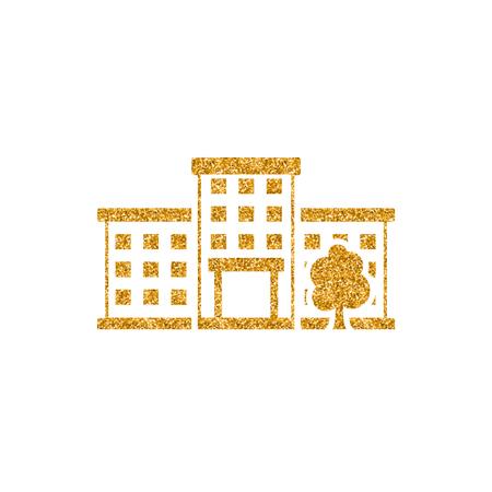 Building icon in gold glitter texture. Sparkle luxury style vector illustration. Illustration