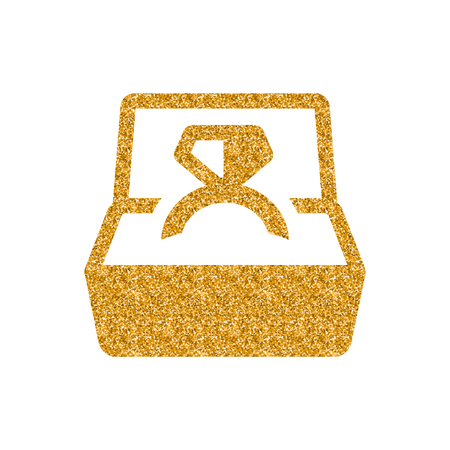 Wedding ring icon in gold glitter texture. Sparkle luxury style vector illustration. Ilustrace