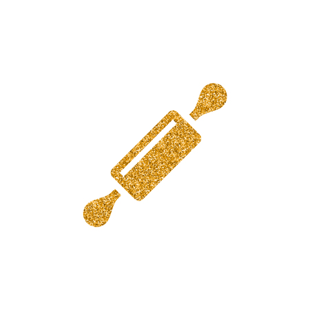 Wooden roller icon in gold glitter texture. Sparkle luxury style vector illustration. Illustration