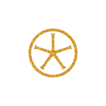 Bicycle wheel icon in gold glitter texture. Sparkle luxury style vector illustration. Stock Illustratie