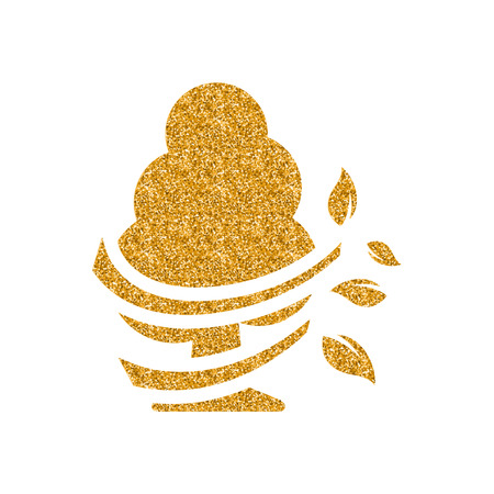 Blowing leaves icon in gold glitter texture. Sparkle luxury style vector illustration.