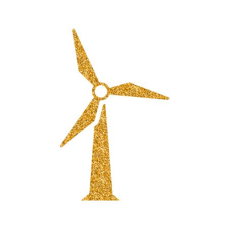 Wind turbine icon in gold glitter texture. Sparkle luxury style vector illustration.