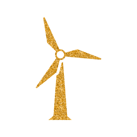 Wind turbine icon in gold glitter texture. Sparkle luxury style vector illustration.