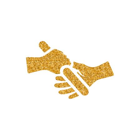 Relay run icon in gold glitter texture. Sparkle luxury style vector illustration.