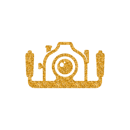 Underwater camera icon in gold glitter texture. Sparkle luxury style vector illustration.