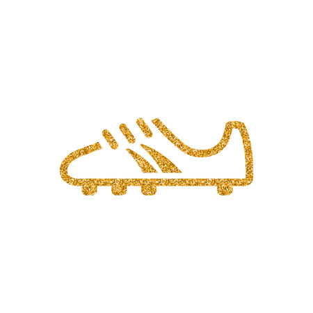 Soccer Shoe icon in gold glitter texture. Sparkle luxury style vector illustration.