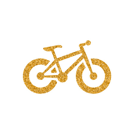Fat tire bicycle icon in gold glitter texture. Sparkle luxury style vector illustration.