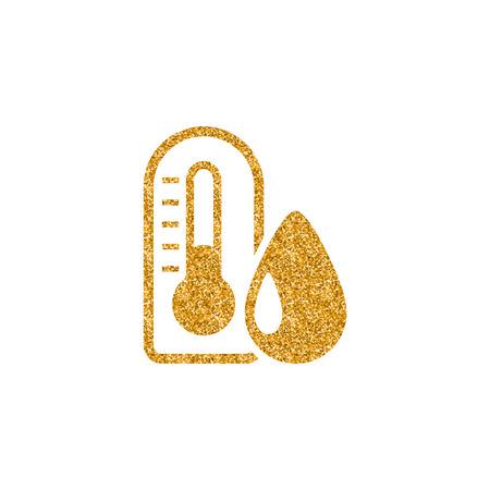 Thermometer icon in gold glitter texture. Sparkle luxury style vector illustration. Illustration