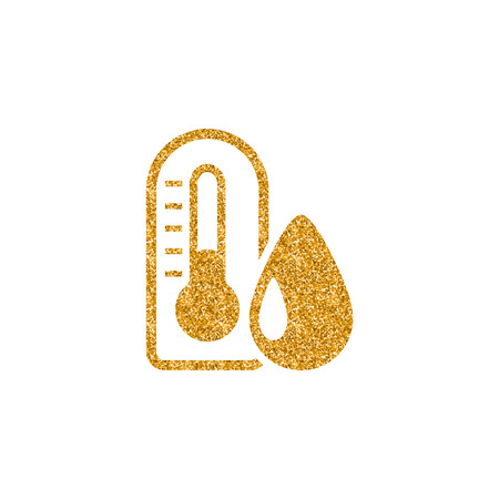 Thermometer icon in gold glitter texture. Sparkle luxury style vector illustration. Illustration