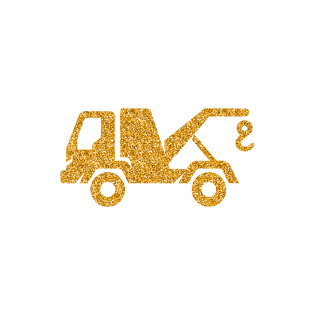 Tow icon in gold glitter texture. Sparkle luxury style vector illustration. Stock Illustratie