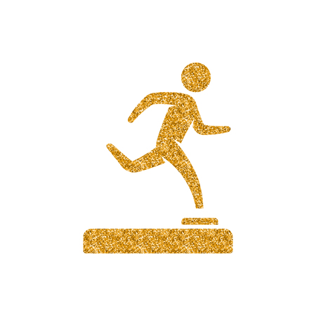 Baseball trophy icon in gold glitter texture. Sparkle luxury style vector illustration.