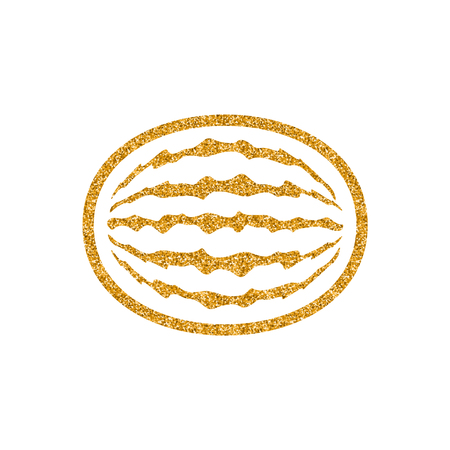 Water melon icon in gold glitter texture. Sparkle luxury style vector illustration.