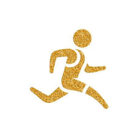 Running athlete icon in gold glitter texture. Sparkle luxury style vector illustration.
