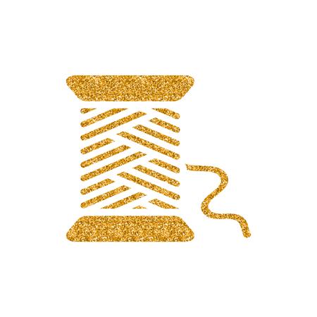 Yarn icon in gold glitter texture. Sparkle luxury style vector illustration. Ilustração