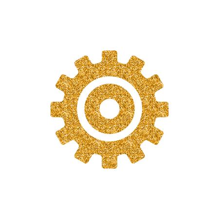 Einstellen des Zahnradsymbols in Goldglitter-Textur Funkeln Sie Luxus-Stil-Vektor-Illustration. Vektorgrafik