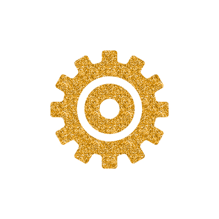 Setting gear icon in gold glitter texture. Sparkle luxury style vector illustration.