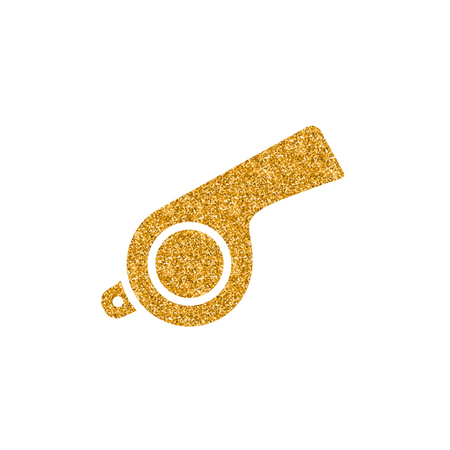 Whistle icon in gold glitter texture. Sparkle luxury style vector illustration.