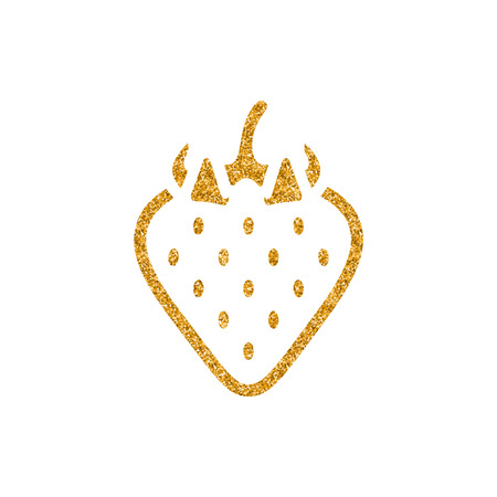 Strawberry icon in gold glitter texture. Sparkle luxury style vector illustration. Иллюстрация