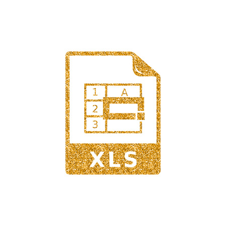 Spreadsheet file icon in gold glitter texture. Sparkle luxury style vector illustration.