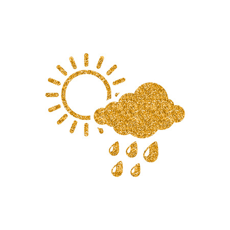 Rain cloud icon in gold glitter texture. Sparkle luxury style vector illustration.
