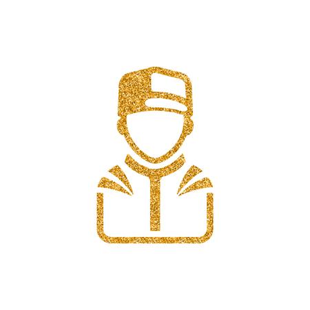 Racer avatar icon in gold glitter texture. Sparkle luxury style vector illustration. Illustration