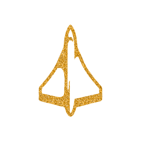 Supersonic airplane icon in gold glitter texture. Sparkle luxury style vector illustration.