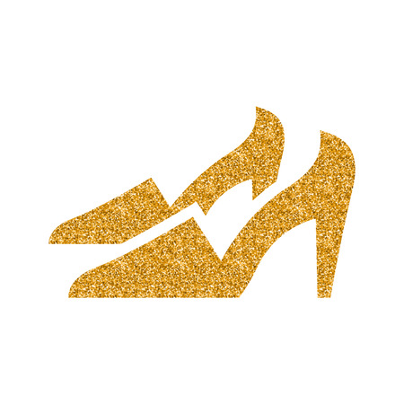 High heels icon in gold glitter texture. Sparkle luxury style vector illustration.  イラスト・ベクター素材