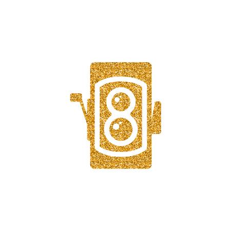 Icona della fotocamera reflex a doppia lente in texture glitter oro. Illustrazione di vettore di stile di lusso scintilla.
