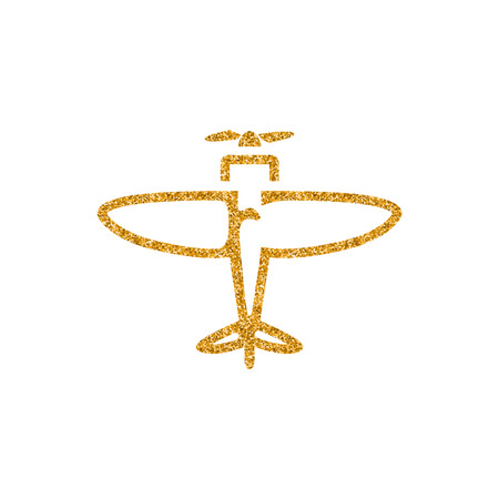 Vintage Airplane icon in gold glitter texture. Sparkle luxury style vector illustration.