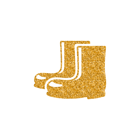 Wet boots icon in gold glitter texture. Sparkle luxury style vector illustration.