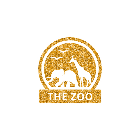 Zoo gate icon in gold glitter texture. Sparkle luxury style vector illustration.