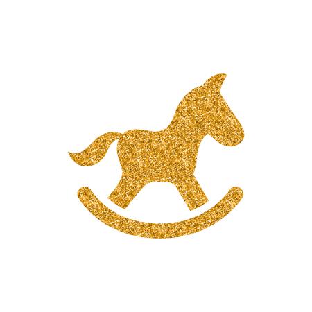 Icona del giocattolo cavallo a dondolo in texture glitter oro. Sparkle illustrazione vettoriale di stile di lusso.