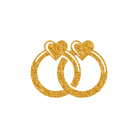 Wedding ring icon in gold glitter texture. Sparkle luxury style vector illustration.