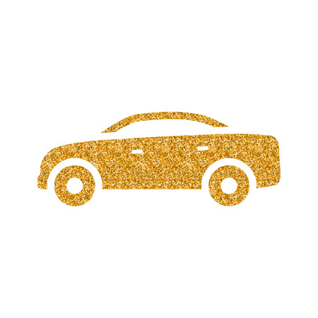 Car icon in gold glitter texture. Sparkle luxury style vector illustration.
