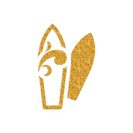 Surf board icon in gold glitter texture. Sparkle luxury style vector illustration.