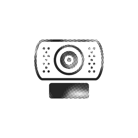 Webcam icon in halftone style. Black and white monochrome vector illustration.