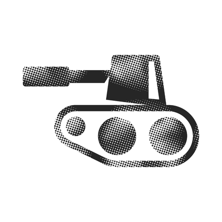 Tank icon in halftone style. Black and white monochrome vector illustration. 向量圖像