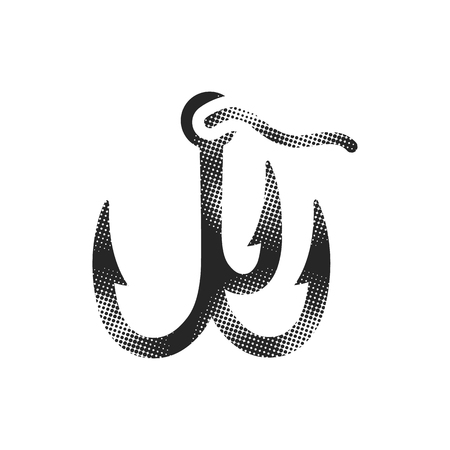 Fishing hook icon in halftone style. Black and white monochrome vector illustration.