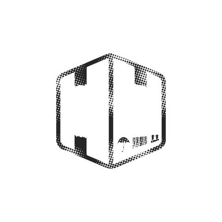 Logistic box icon in halftone style. Black and white monochrome vector illustration.