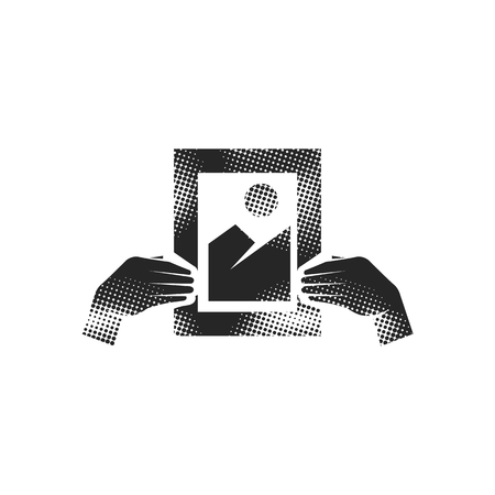 Hand holding painting icon in halftone style. Black and white monochrome vector illustration. Illustration