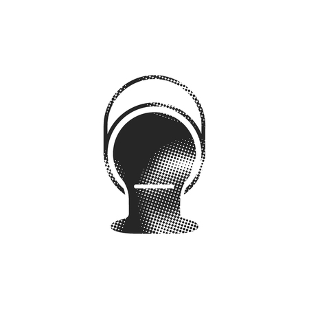 Painting can icon in halftone style. Black and white monochrome vector illustration.