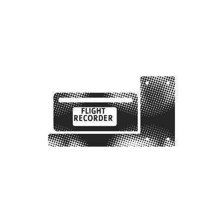 Flight recorder icon in halftone style. Black and white monochrome vector illustration.