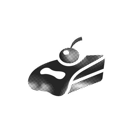 Cake icon in halftone style. Black and white monochrome vector illustration. Illustration
