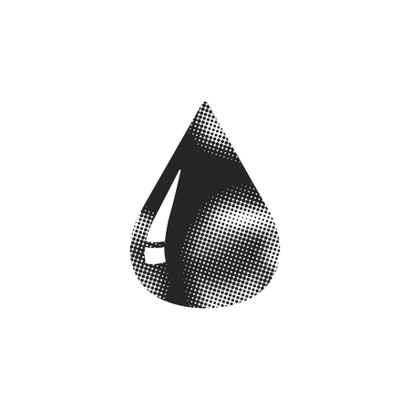 Blood drop icon in halftone style. Black and white monochrome vector illustration. Illustration