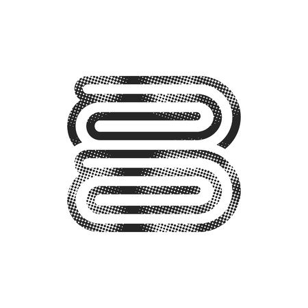 Folded towel icon in halftone style. Black and white monochrome vector illustration. Illustration
