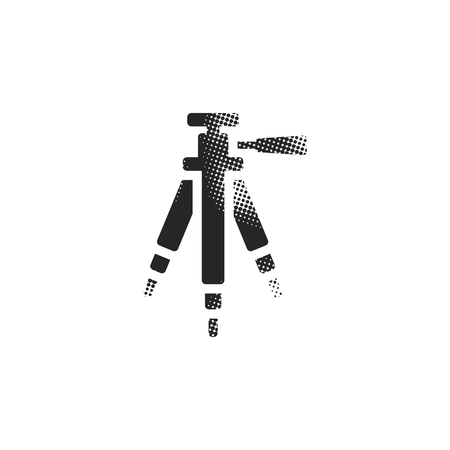 Camera tripod icon in halftone style. Black and white monochrome vector illustration.