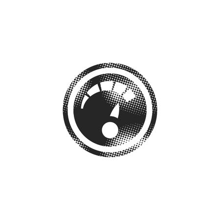 Dashboard icon in halftone style. Black and white monochrome vector illustration.
